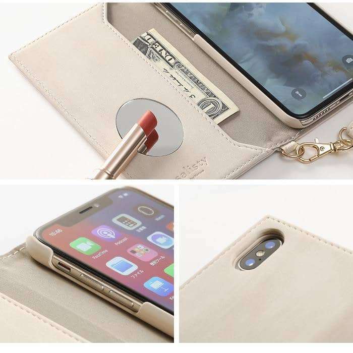 salisty Q Suede x Metal Logo Diary Phone Case - Hamee Strapya World