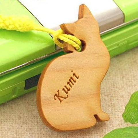 Cat Wood Custom (Personalized) Name Tag Strap - Hamee Strapya World