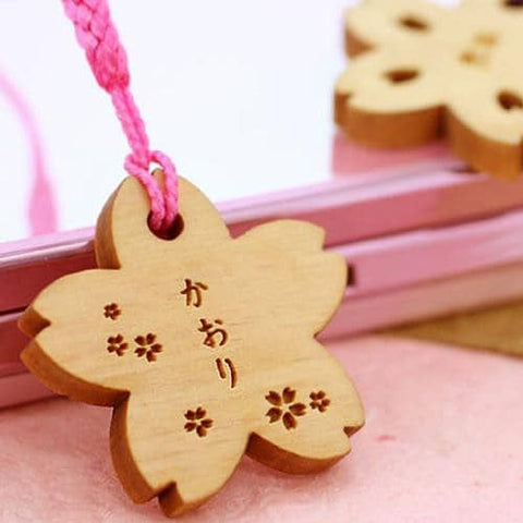 Sakura Petal Wood Custom (Personalized) Name Tag Strap - Hamee Strapya World