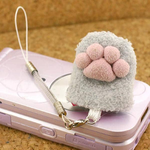 Animal Paw Finger Sack Cell Phone Screen Cleaner Strap (Grey) - Hamee Strapya World