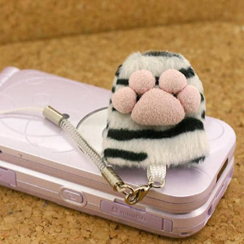 Animal Paw Finger Sack Cell Phone Screen Cleaner Strap (White Tiger) - Hamee Strapya World