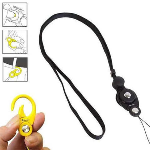 HandLinker Putto Carabiner Neck Strap (Black) - Hamee Strapya World