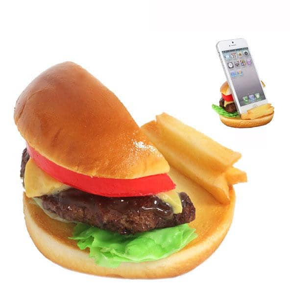 Food Sample Smartphone Stand (Cheese Burger) - Hamee Strapya World