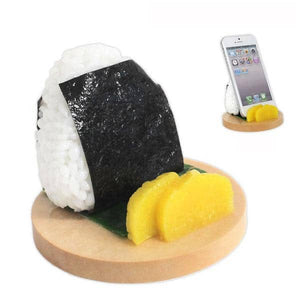 Food Sample Smartphone Stand (Rice Ball) - Hamee Strapya World