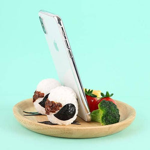 Food Sample Smartphone Stand (Long-tailed Tit with Onigiri) - Hamee Strapya World