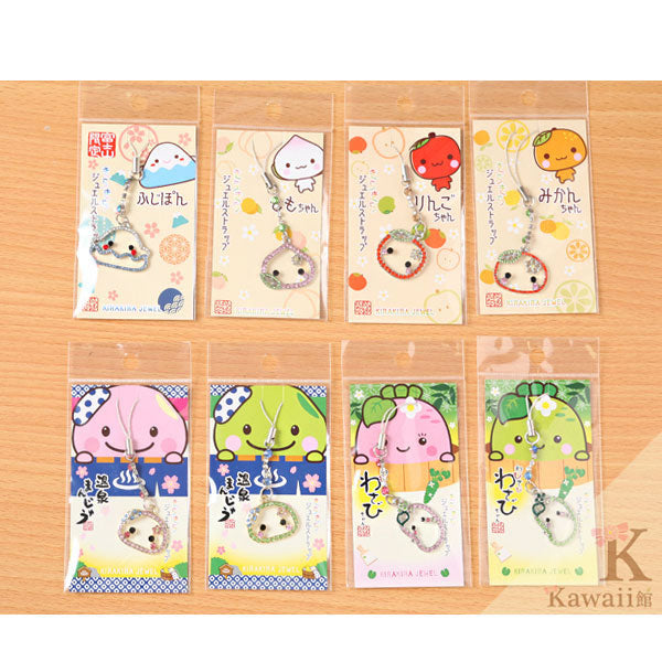 Japanese Kawaii Character Glitter Jewelry Cell Phone Charm (Onsen Manjyu Green) - Hamee Strapya World