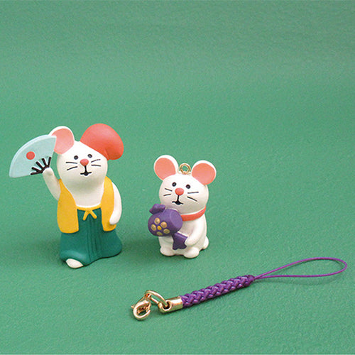 DECOLE Concombre Figures New Year (Good Luck Mouse Strap / White) - Hamee Strapya World