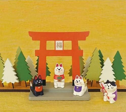 DECOLE Concombre Figures - Mattari Shrine (Beckoning Fox Pair) - Hamee Strapya World