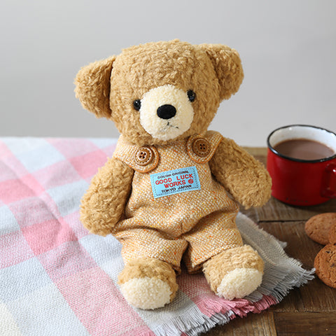 [MADE IN JAPAN] Fluffy Bear Plush - mocopalcchi (Brown Bear in Overalls Orange) - Hamee Strapya World