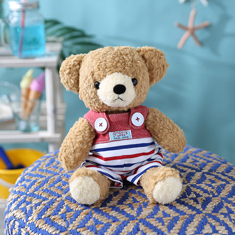 [MADE IN JAPAN] Fluffy Bear Plush - mocopalcchi (Brown Bear in Overalls Tricolor / Red Border) - Hamee Strapya World