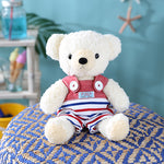 [MADE IN JAPAN] Fluffy Bear Plush - mocopalcchi (Cream Bear in Overalls Tricolor / Red Border) - Hamee Strapya World