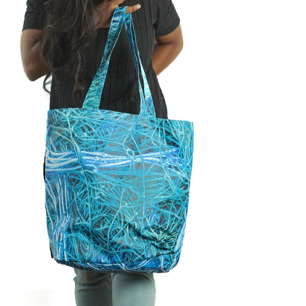 On the edge of the sea | Waterproof Tote Bag - Blue