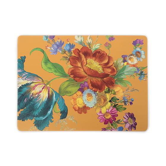 MacKenzie-Childs Flower Market Ochre Cork Back Placemats - Set of 4