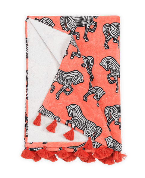 Matouk Faubourg Beach Towel Pink Coral