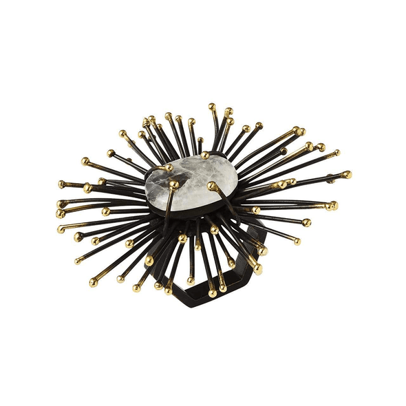 Kim Seybert Flare Napkin Ring In Gold & Black- Set of 4