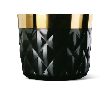 Comic Cups Noir Diamond Embossed Champagne Goblet