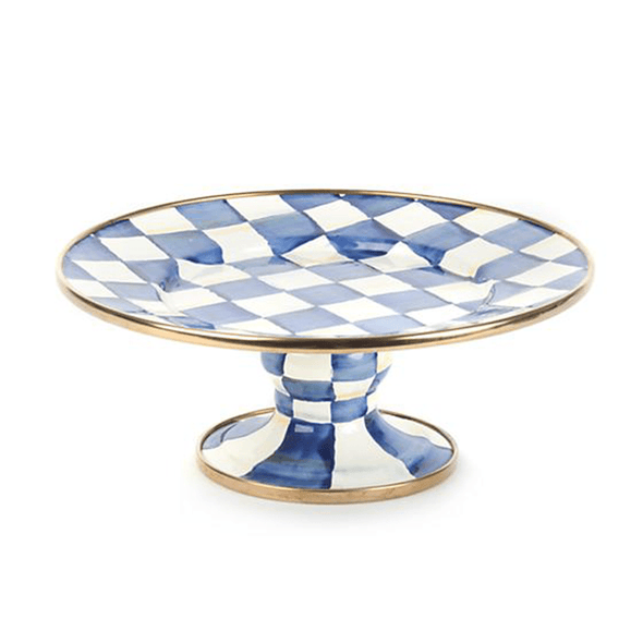 MacKenzie-Childs Royal Check Pedestal Platter - Mini