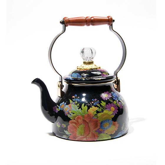 MacKenzie-Childs Flower Market 2 Quarts Tea Kettle - Black