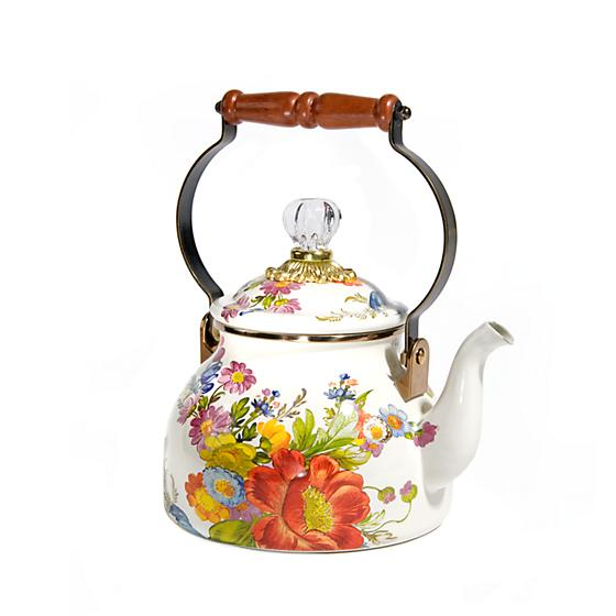 MacKenzie-Childs Flower Market 2 Quarts Tea Kettle - White