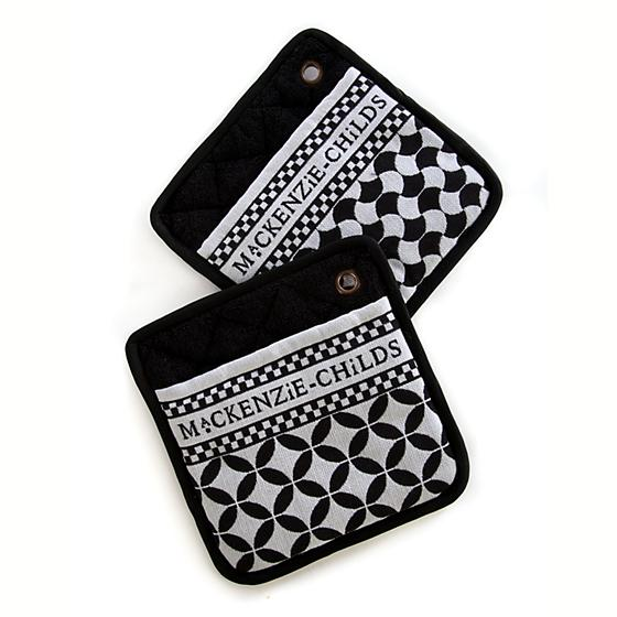 MacKenzie-Childs Black Geo Pot Holders - Set of 2
