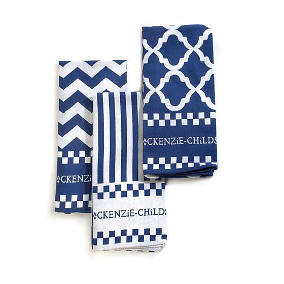 MacKenzie-Childs Blue & White Zig Zag Dish Towels - Set of 3