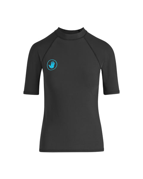 Basic Short-Sleeve Women's Lycra Rash Guard - Black