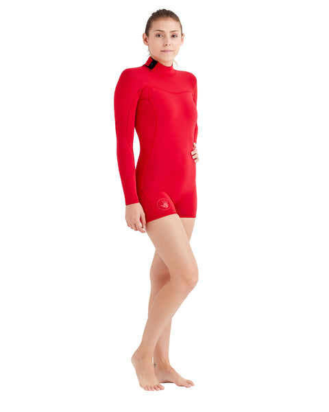 Women's Smoothies 2mm Back-Zip L/A Springsuit - Red