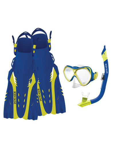 Cove Mask/Snorkel/Fin Snorkeling Set - Blue/Citron