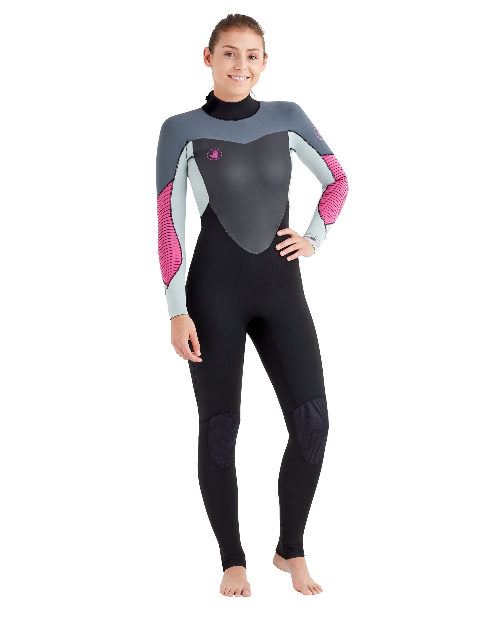 Women's EOS 4/3mm Back-Zip Wetsuit - Grey/Pink
