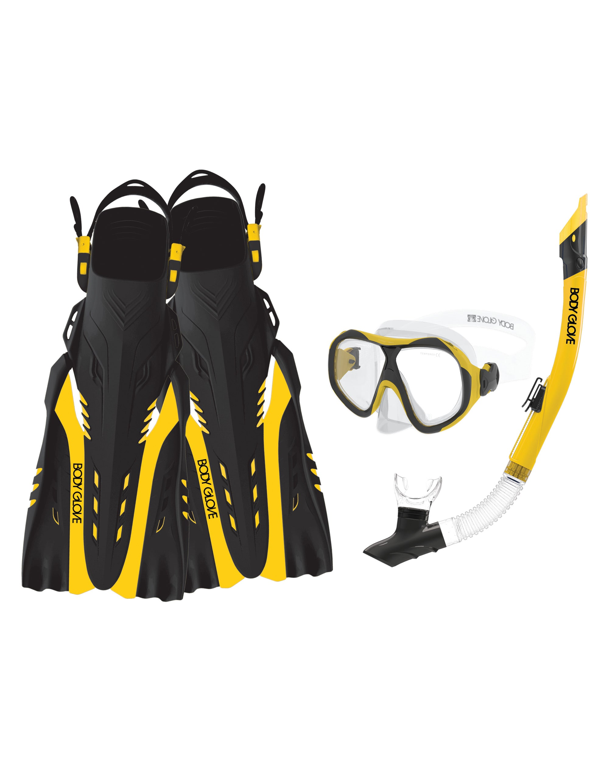 Enlighten II Mask/Snorkel/Fin Snorkeling Set - Yellow/Black