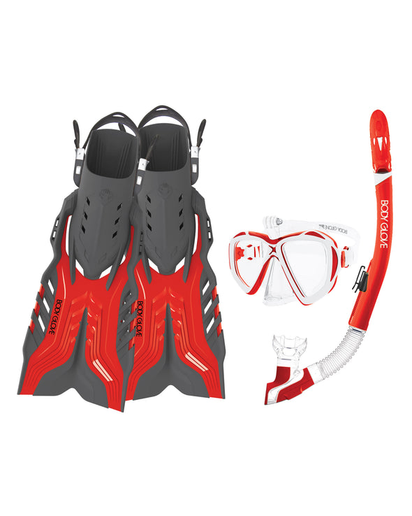 Passage Mask/Snorkel/Fin Snorkeling Set - Red/White