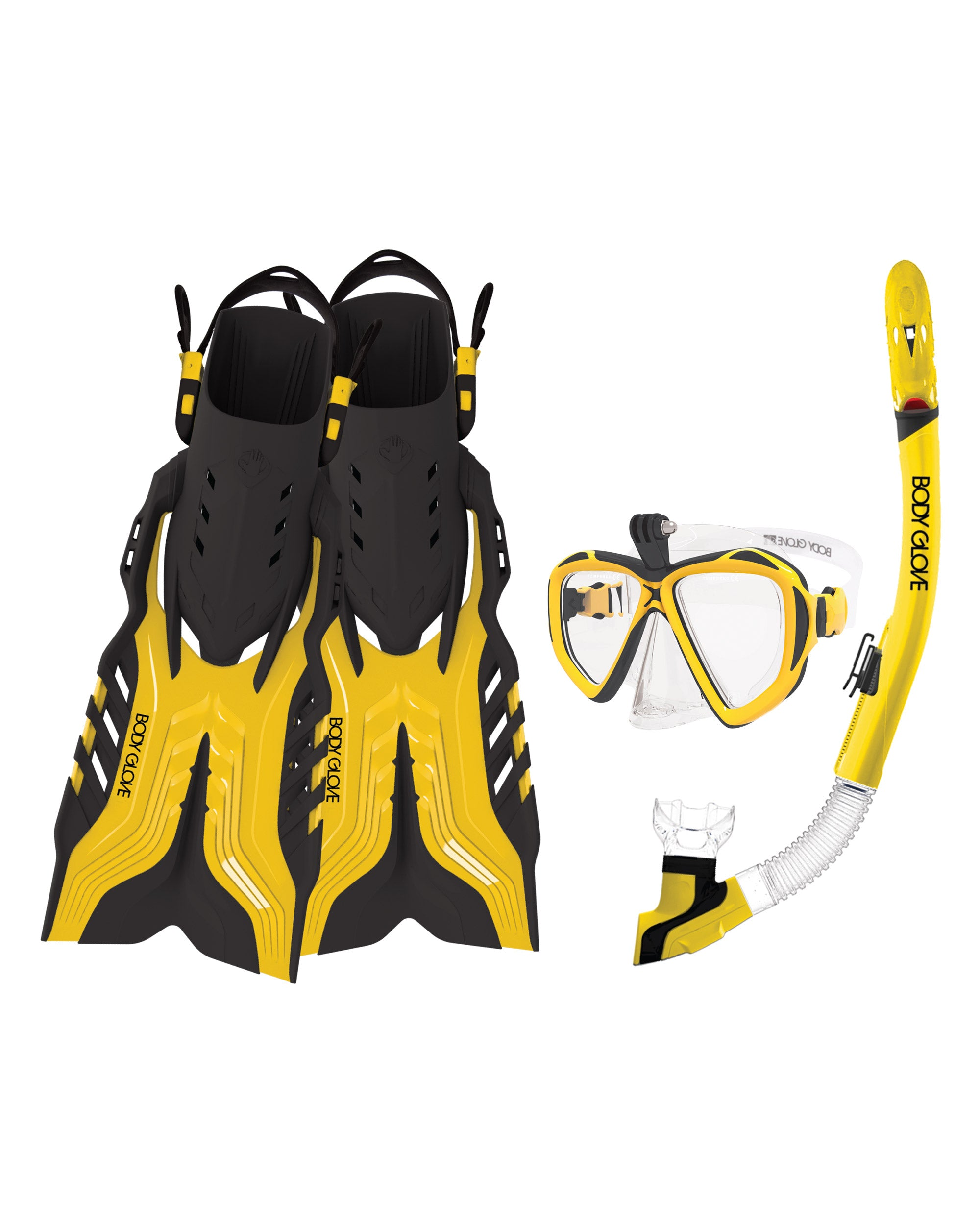 Passage Mask/Snorkel/Fin Snorkeling Set - Yellow/White/Black