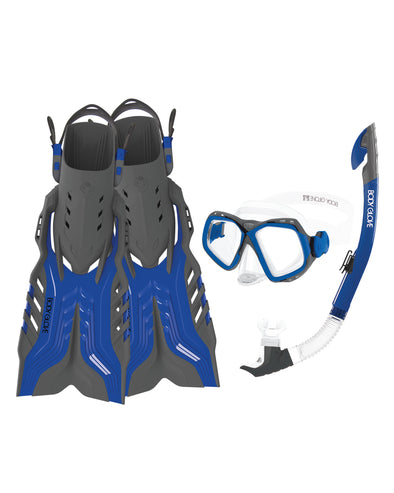 Fiji Mask/Snorkel/Fin Snorkeling Set - Blue/Grey