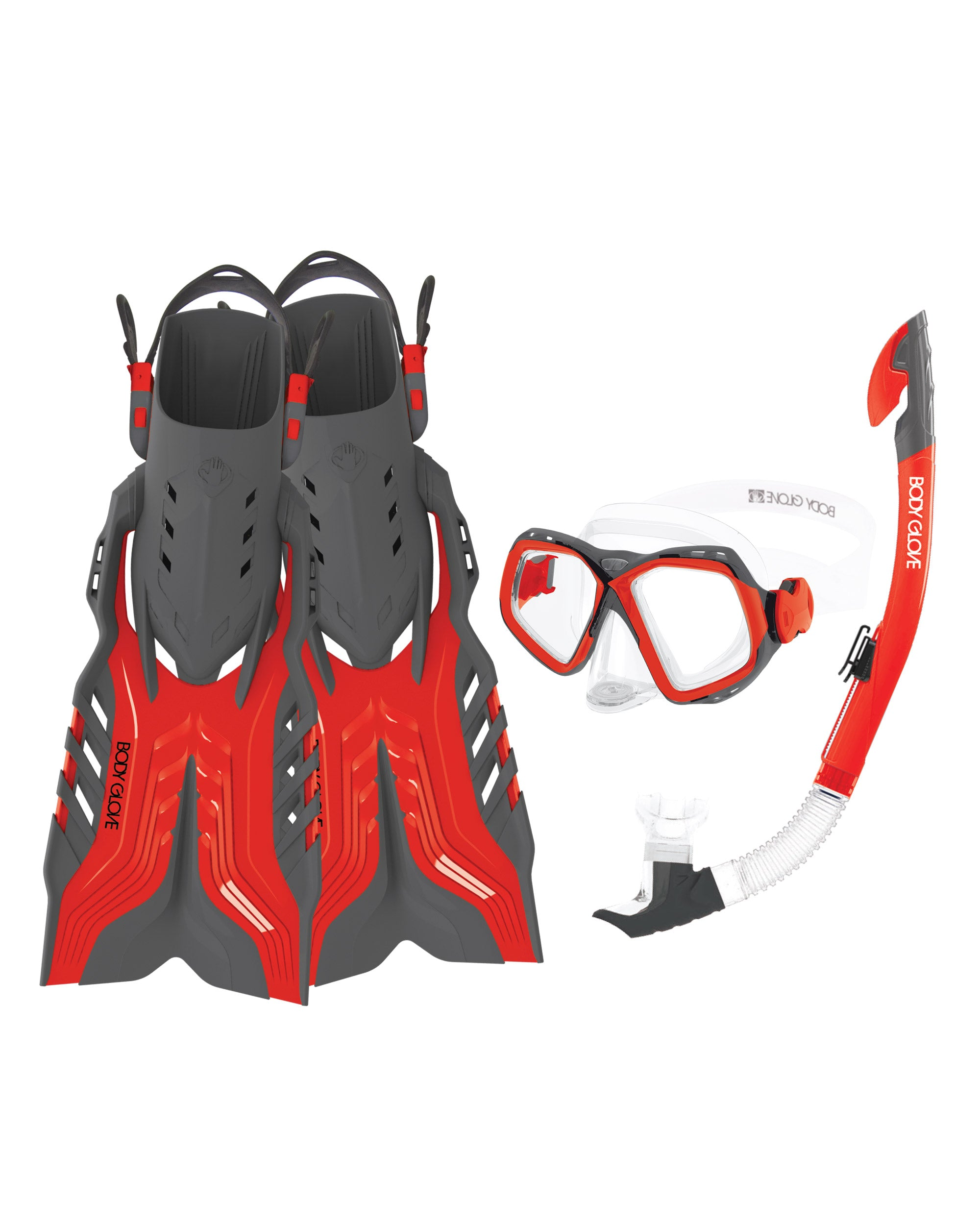 Fiji Mask/Snorkel/Fin Snorkeling Set - Red/Grey