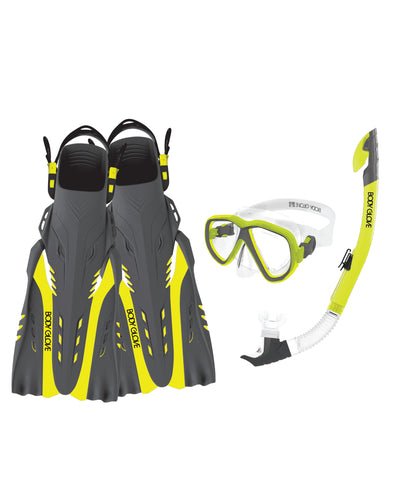 Azores Mask/Snorkel/Fin Snorkeling Set - Citron/Grey