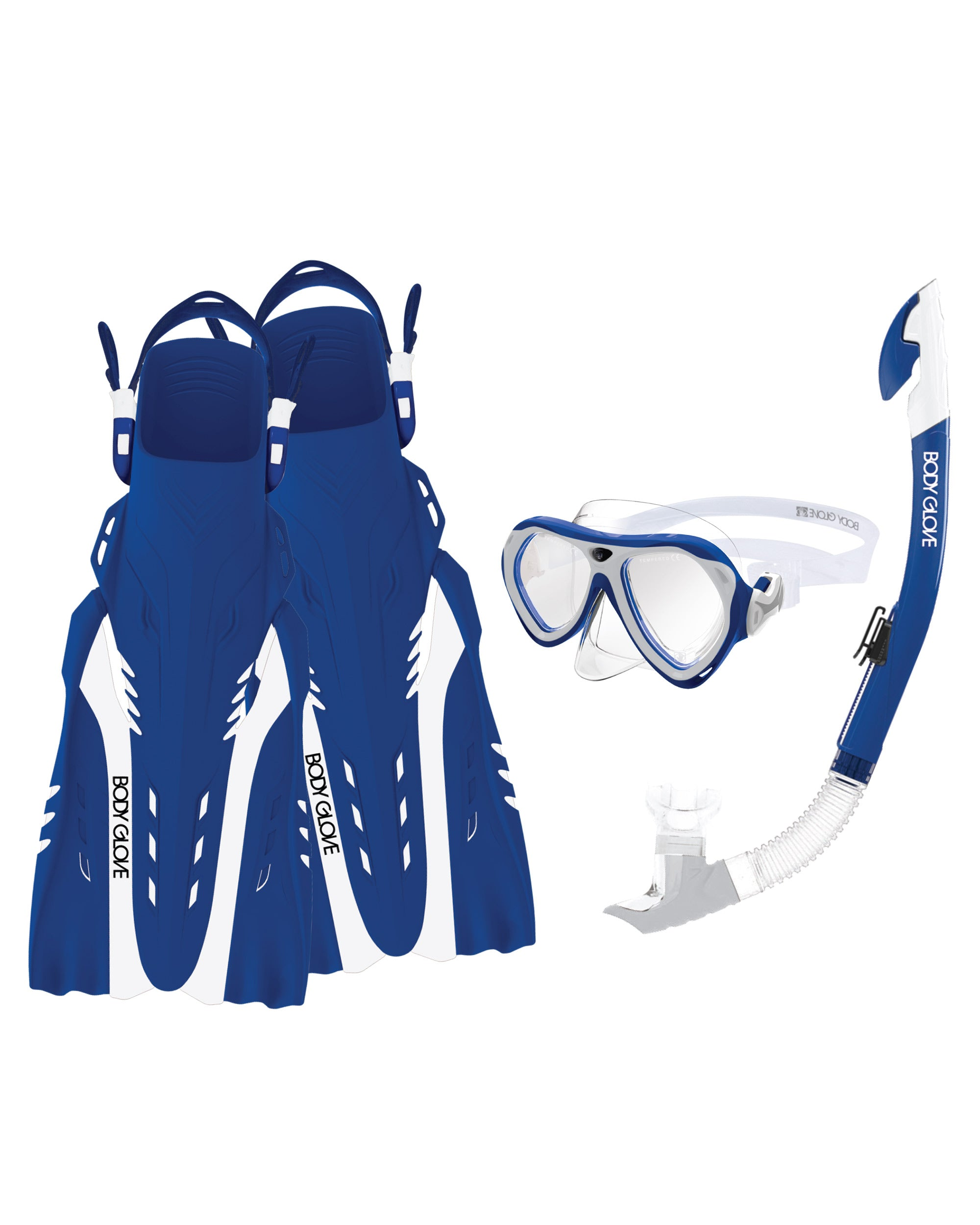 Aruba Women's Mask/Snorkel/Fin Snorkeling Set - Blue/White
