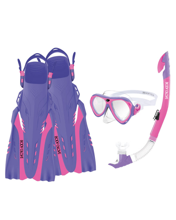 Aruba Women's Mask/Snorkel/Fin Snorkeling Set - Pink/Purple