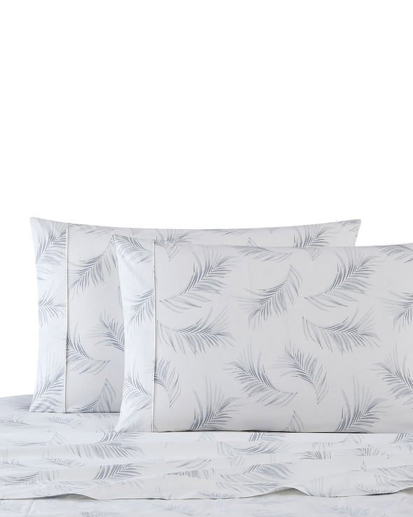 Litz Leaf Print Cotton Sheet Set - Palm Leaves