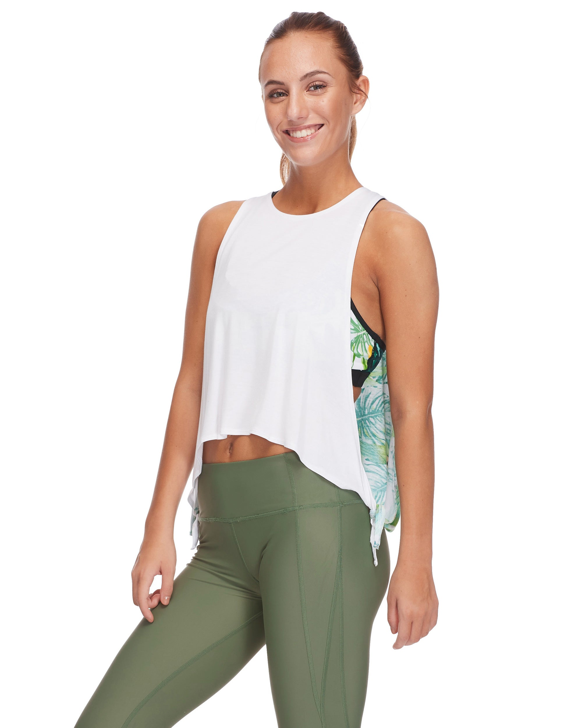 Leah Crop-Top Tank in Areca - Multi