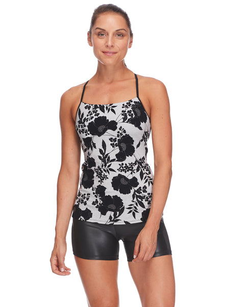 Zephyr Racer-Back Tank Top in Waitomo - Black