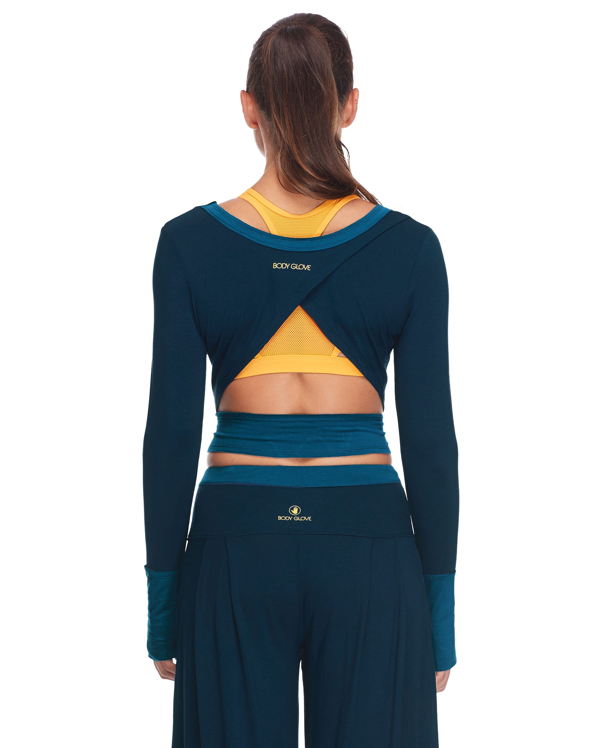 Body Glove Womens Astrid Fillted Long Sleeve Activewear Crop Top