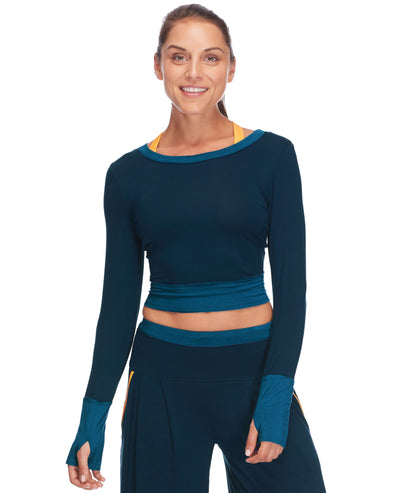 Astrid Long-Sleeve Crop in Alpine - Moonlight