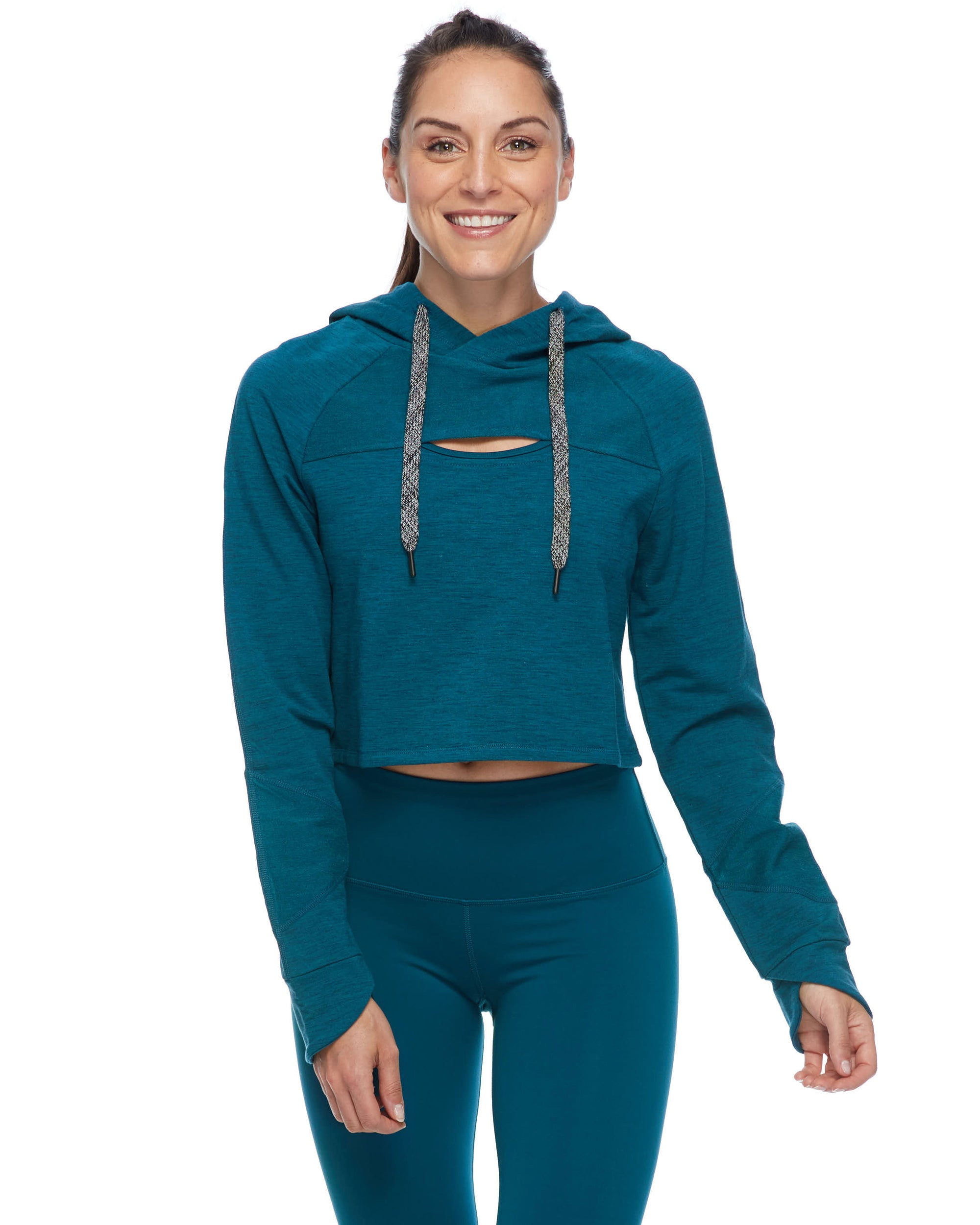 Raina Cropped Hoodie - Oceanic Heather