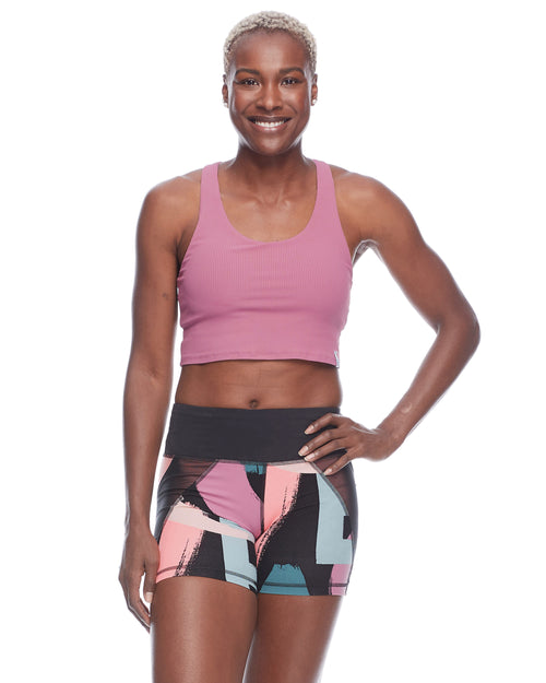 Rush Rib Medium-Support Sports Bra - Rosewood