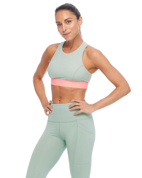 Tune Colorblock Medium-Support Sports Bra - Pale Pine