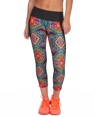 Roam Cross-Over Capri Legging in Karma - Multi