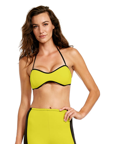 '80s Throwback Tainted Love Swim Top - Yellow