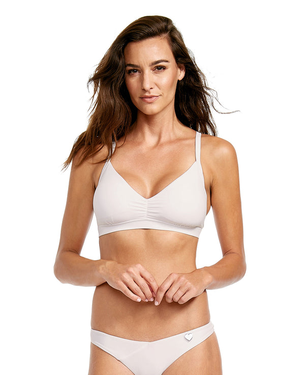 Smoothies Drew D-E Cup Swim Top - White