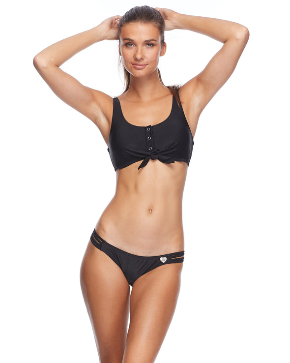 Smoothies Kate Crop Tank Bikini Top - Black