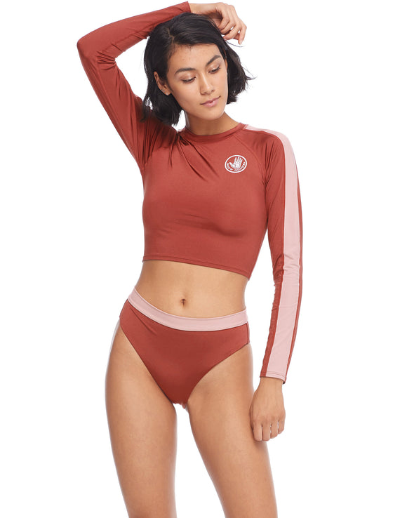 Stamina Let It Be Cross-Over Rash Guard - Spice